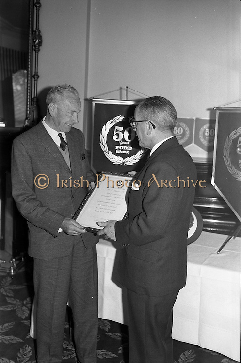 19/06/1963.06/19/1963.19 June 1963.Ford 50 year Service Awards at Shelbourne Hotel, Dublin. Service awards presented to Ford dealers, H.P. Higgins Ltd.