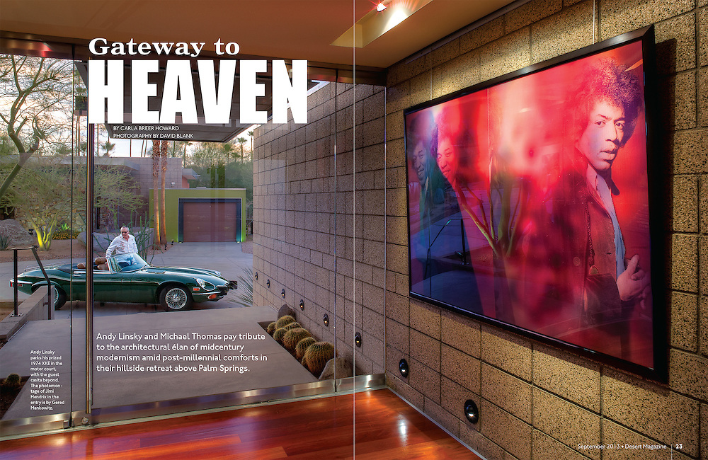 Magazine Cover story Andys Linsky's home in Hills Above Palm Springs. Modern home entry way with Jimmy Hendricks painting. Shot at dusk with 1972 Jaguar xke and home owner Andy Linsky. Designed by: Ana Escalante