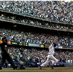 The Los Angeles Dodgers vs the San Francisco Giants at Dodger Stadium in Los Angeles Saturday October 2,2004. Dodgers Steve Finley ,12, wins it in the 9th with a grandslam as the Dodgers beat the Giants 7-3 and Win the Western Division Championship.
