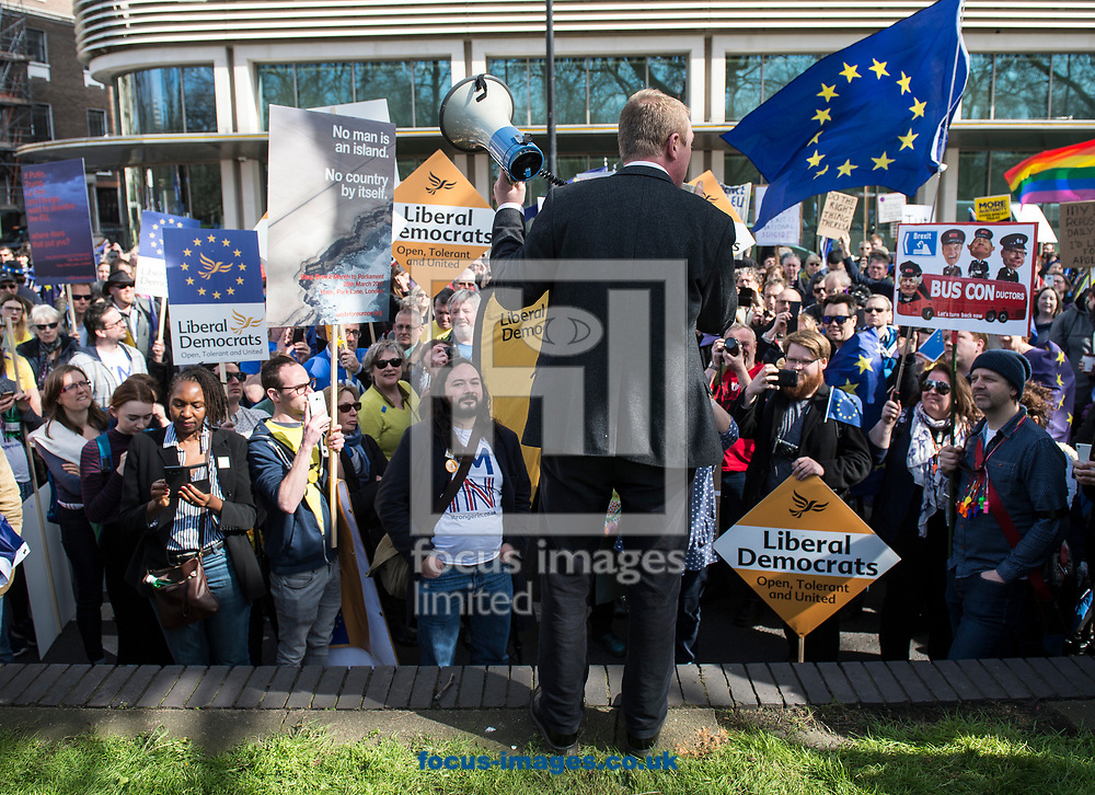 Tim Farron, leader  of the Liberal Democrats, has announced he is standing down in the wake of the General Election.  Westminster, London<br /> Picture by Daniel Hambury/Stella Pictures Ltd 07813022858<br /> 14/06/2017<br /> <br /> SPL TIM FARRON MP 12.jpg<br /> <br /> Original Caption:<br /> Tim Farron MP addresses members of the Liberal Democrats ahead of Unite for Europe march, starting in Park Lane and ending in a rally in Parliament Square.<br /> Picture by Daniel Hambury/Stella Pictures Ltd 07813022858<br /> 25/03/2017