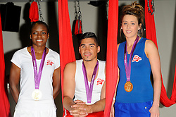 In the frame - Nicola Adams, Louis Smith, Jade Jones.<br /> Louis Smith MBE, Jade Jones MBE, Nicola Adams MBE and Sophia Warner attend a photocall to promote Team VA.<br /> Team VA will represent Virgin Active at key outdoor sporting events this summer as they encourage Brits to get active and try something new.<br /> <br /> The four athletes will take part in the following events: Virgin Active London Triathlon (27-28th July 2013), Prudential RideLondon (3-4th August 2013) and Bloomberg Square Mile Relay (19th September 2013) <br /> <br /> Virgin Active Fitness centre, London <br /> 31 May 2013