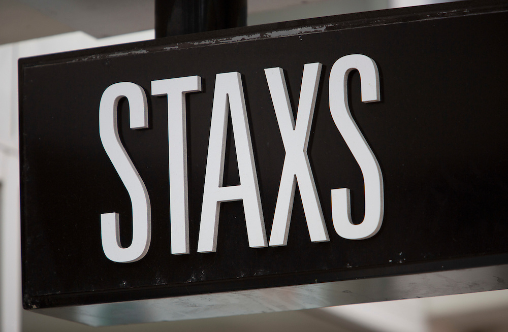 Staxs, Stock images, signage, Tauranga, New Zealand, 10 June 2012, Photo: SNPA / John Cowpland