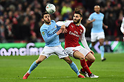 Bernardo Silva (20) of Manchester City battles for possession with Sead Kolasinac (31) of Arsenal during the EFL Cup Final match between Arsenal and Manchester City at Wembley Stadium, London, England on 25 February 2018. Picture by Graham Hunt.