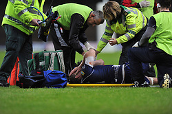 Bristol Rugby captain Ryan Jones shows his dejection after requiring stretchering off the field because of injury - Photo mandatory by-line: Patrick Khachfe/JMP - Tel: Mobile: 07966 386802 28/05/2014 - SPORT - RUGBY UNION - Kassam Stadium, Oxford - London Welsh v Bristol Rugby - Greene King IPA Championship.