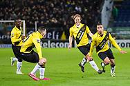 BREDA, NAC Breda - SC Cambuur, voetbal Eredivisie, seizoen 2013-2014, 21-12-2013, Rat Verlegh Stadion, NAC viert de 1-0 van NAC Breda speler Anouar Hadouir (R), NAC Breda speler Jeffrey Sarpong (L), NAC Breda speler Mats Seuntjens (2L), NAC Breda speler Tim Gilissen (2R).