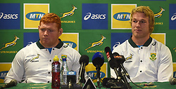 Cape Town-180621 Springbok players Stephen Kitshoff and Pieter Steph du Toit having an iterview with the media at Cape Town Stadium.The two will be in the starting line-up against England in the last game of the test at Newlands on Saturday.Photographer:Phando Jikelo/African News Agency/ANA