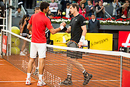 Andy Murray Novak Djokovic during the final of the Madrid Open at Manzanares Park Tennis Centre, Madrid<br /> Picture by EXPA Pictures/Focus Images Ltd 07814482222<br /> 08/05/2016<br /> ***UK &amp; IRELAND ONLY***<br /> EXPA-ESP-160509-0115.jpg