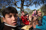 Families hide under olive trees. On 22. February the syrian army attacked the village of Kureen, Province of Idlib, Syria. Kureen was among the first villages in the northwest of Syria controlled by the opposition. Some villagers and members of the defence units escaped to surrounding olive orchards, when the attack begun in the early morning. A majority of the inhabitants didn´t manage to escape. The heavy shelling lasts 7 houres. Soldiers searched all houses, burnt some of them down, loote shops, stole cars and furniture. About 60 motorcycles were burnt down. Tanks demolished several houses. 6 men were executed. One woman died as a result of an heart attack.