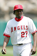 ANAHEIM, CA - APRIL 26:  Right fielder Vladimir Guererro #27 of the Los Angeles Angels of Anaheim during a break in the action at the game against the Tampa Bay Devil Rays at Angel Stadium in Anaheim, California on April 26, 2007. The Angels defeated the Devil Rays 11-3. ©Paul Anthony Spinelli *** Local Caption *** Vladimir Guererro
