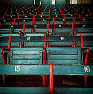 Empty seats awaiting fans at Boston's Fenway Park.
