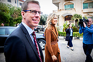 Queen Maxima of The Netherlands visits the UN office for an round table meeting with development partners welcomed by UN Resident coordinator Anders Pedersen in Amman, Jordan, 11 February 2019. Queen Maxima is in Jordan for an two day visit in her capacity as United Nation Secretary General's Special Advocate for Inclusive Finance for Development. Copyright ROBIN UTRECHT