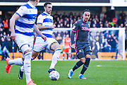 Leeds United forward Helder Costa (17) passes the ball during the EFL Sky Bet Championship match between Queens Park Rangers and Leeds United at the Kiyan Prince Foundation Stadium, London, England on 18 January 2020.