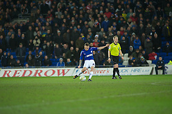 CARDIFF, WALES - Tuesday, February 1, 2011: Cardiff City's Craig Bellamy scores from a free kick in the last minute of extra time to draw 2-2 against Reading during the Football League Championship match at the Cardiff City Stadium. (Photo by Gareth Davies/Propaganda)