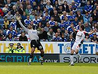 Photo: Steve Bond/Richard Lane Photography. Leicester City v Carlisle United. Coca Cola League One. 04/04/2009.  Michael Bridges (L) chips keeper Tony Warner to score