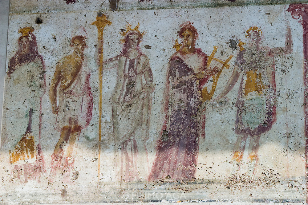 Roman frescoes at the archeological site of the ancient settlement that had been buried and conserved under the ashes of Vesuvio's eruption in 79 BC.
