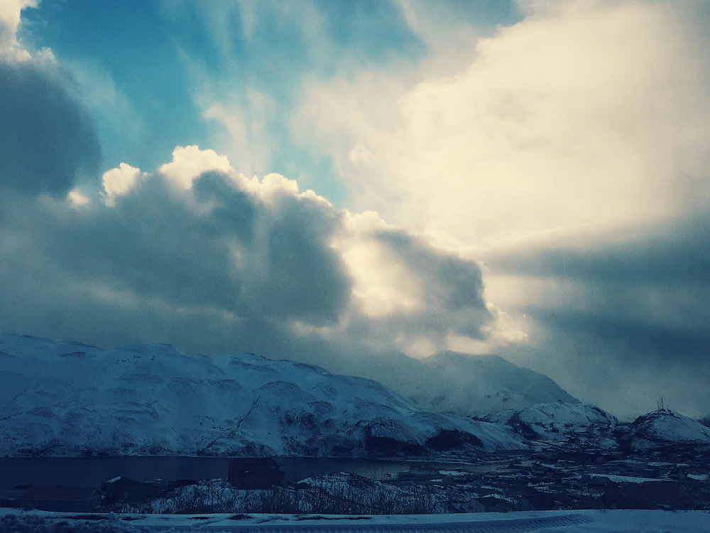 Light breaking through the clouds in Dutch Harbor, Alaska. Taken with an iPhone