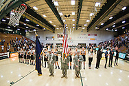 The Color Guard during the singing of the National Anthem before the start of the women's basketball game between the Bryant Bulldogs and the Vermont Catamounts at Patrick Gym on Friday night November 11, 2016 in Burlington.  (BRIAN JENKINS/for the FREE PRESS)