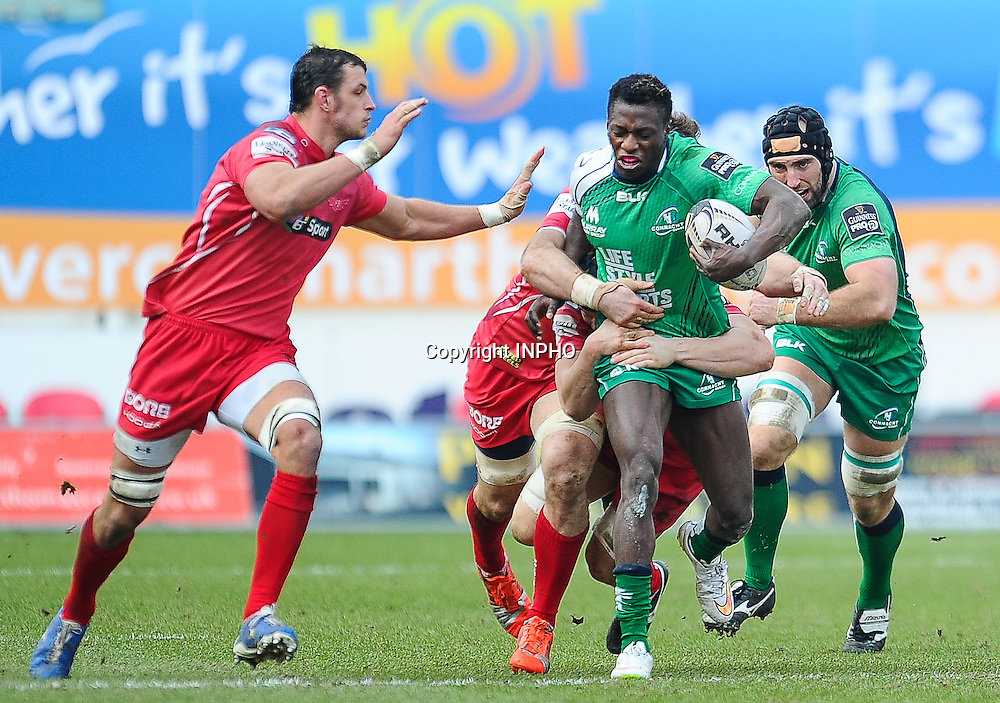 Guinness PRO12, Parc y Scarlets, Wales 15/2/2015<br /> Scarlets vs Connacht<br /> Connacht's Niyi Adeolokun<br /> Mandatory Credit &copy;INPHO/Craig Thomas