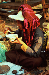 BURMA TAUNGGYI MAR95 - A tribal woman eats her breakfast soup at the weekly tribal market at Taunggyi. .. jre/Photo by Jiri Rezac. . © Jiri Rezac 1995. . Contact: +44 (0) 7050 110 417. Mobile: +44 (0) 7801 337 683. Office: +44 (0) 20 8968 9635. . Email: jiri@jirirezac.com. Web: www.jirirezac.com
