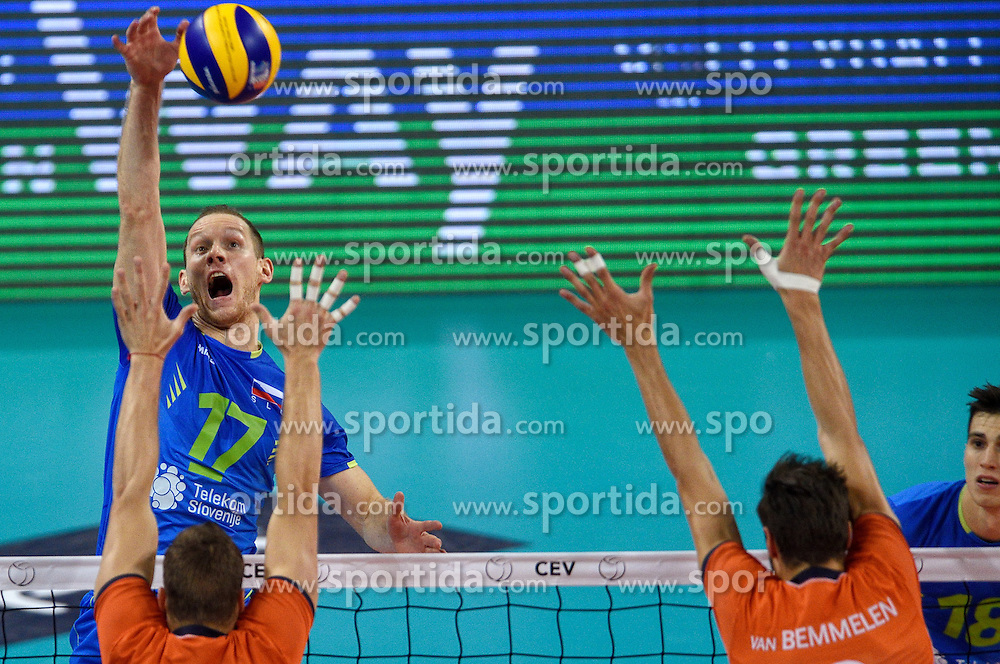 Tine Urnaut of Slovenia during volleyball match between National teams of Netherlands and Slovenia in Playoff of 2015 CEV Volleyball European Championship - Men, on October 13, 2015 in Arena Armeec, Sofia, Bulgaria. Photo by Ronald Hoogendoorn / Sportida