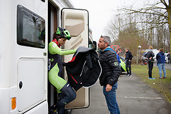Sheyla Guitierrez (Cylance Pro Cycling) prepares for the race at the 124.2 km Omloop Het Nieuwsblad - Elite Women on February 25th 2017, starting and finishing in Gent, Belgium. (Photo by Sean Robinson/Velofocus)