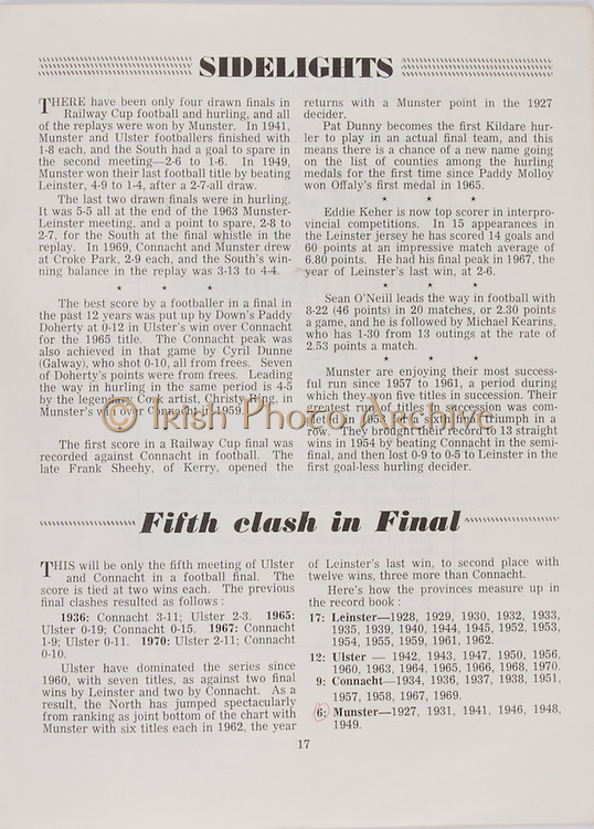 Railway Cup Football Final. Connacht v Ulster. Croke Park, Dublin. 17th March 1971. 17.03.1971.  Railway Cup Hurling Final. Munster v Leinster. Croke Park, Dublin. 17th March 1971. 17.03.1971.