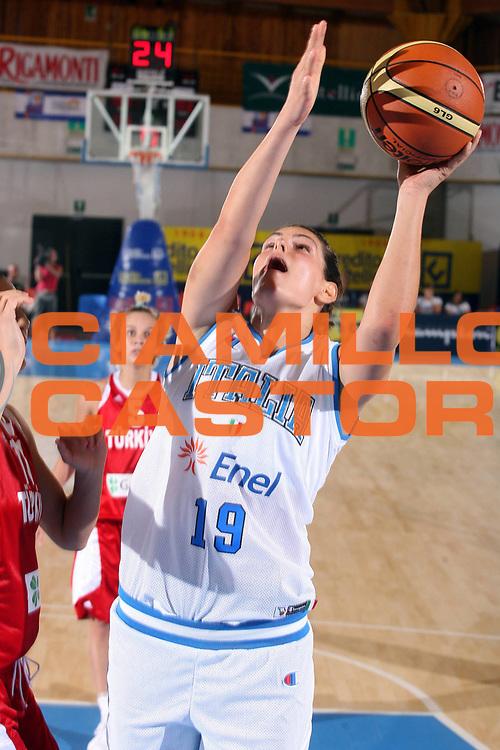 DESCRIZIONE : Bormio Torneo Preparazione Europei Nazionale Femminile 2007 Italia Turchia<br />GIOCATORE : Sara Giorgi<br />SQUADRA : Nazionale Italia Donne<br />EVENTO : Bormio Torneo Preparazione Europei Nazionale Femminile 2007<br />GARA : Italia Turchia<br />DATA : 13/08/2007<br />CATEGORIA : Tiro<br />SPORT : Pallacanestro<br />AUTORE : Agenzia Ciamillo-Castoria/G.Ciamillo<br />Galleria : Fip Nazionali 2007<br />Fotonotizia : Bormio Torneo Preparazione Europei Nazionale Femminile 2007 Italia Turchia<br />Predefinita :
