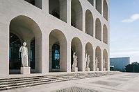 """ROME, ITALY - 15 OCTOBER 2018: A view of the statues here at the Fendi Headquarters at the Palazzo della Civiltà Italiana, also called the """"Colosseo Quadrato"""" (Square Colosseum),  an outstanding jewel of the 20th century Roman architecture in Rome, Italy, on October 15th 2018.<br /> <br /> The LVMH Journées Particulières is is a series of exhibitions that show the creations and history of the LVMH fashion houses. The driving theme behind the Journées Particulières is to allow the general public to discover the inner workings of the Houses which are part of the LVMH heritage.The LVMH Journées Particulières exhibition by fashion house FENDI takes place at their headquarters at the Palazzo della Civiltà Italiana, also called the """"Colosseo Quadrato"""" (Square Colosseum),  an outstanding jewel of the 20th century Roman architecture."""