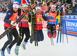 March 16, 2019 - –Stersund, Sweden - 190316 Synnøve Solemdal,  Ingrid Landmark Tandrevold, Tiril Eckhoff and Marte Olsbu Røiseland of Norway  celebrates after the Women's 4x6 km Relay during the IBU World Championships Biathlon on March 16, 2019 in Östersund..Photo: Petter Arvidson / BILDBYRÃ…N / kod PA / 92268 (Credit Image: © Petter Arvidson/Bildbyran via ZUMA Press)