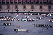 MEXICO - Mexico City..The national flag is lowered and folded in a ceremony each sunday in the Zocalo.