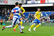 (Caption Correction)Tyler Roberts (11) of Leeds United gets a shot away which hits the post during the The FA Cup 3rd round match between Queens Park Rangers and Leeds United at the Loftus Road Stadium, London, England on 6 January 2019.