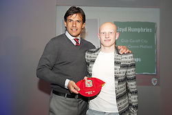 CARDIFF, WALES - Saturday, May 11, 2013: Lloyd Humphries is presented with his U16's cap by Wales national team manager Chris Coleman at the FAW Trust Under-16's cap presentation. (Pic by David Rawcliffe/Propaganda)