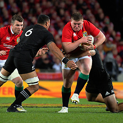 Tadhg Furlong is tackled during the 2017 DHL Lions Series rugby union match between the NZ All Blacks and British & Irish Lions at Eden Park in Auckland, New Zealand on Saturday, 24 June 2017. Photo: Dave Lintott / lintottphoto.co.nz