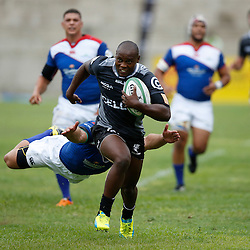 DURBAN, SOUTH AFRICA, 23, April 2016 -  Nkululeko Marwana of the Cell C Sharks XV away from Johann Tromp of the Windhoek Draught Welwitschias during the  Currie Cup Qualifiers match between The Cell C Sharks XV vs Windhoek Draught Welwitschias,King Zwelithini Stadium, Umlazi, Durban, South Africa. Kevin Sawyer (Steve Haag Sports) images for social media must have consent from Steve Haag