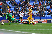 Preston North End Striker Eoin Doyle thinks he has scored but is ruled offside during the Sky Bet Championship match between Bolton Wanderers and Preston North End at the Macron Stadium, Bolton, England on 12 March 2016. Photo by Pete Burns.