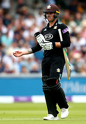 Jason Roy of Surrey cuts a frustrated figure after being caught off the bowling of Samit Patel of Nottinghamshire - Mandatory by-line: Robbie Stephenson/JMP - 01/07/2017 - CRICKET - Lord's Cricket Ground - London, United Kingdom - Nottinghamshire v Surrey - Royal London One-Day Cup Final 2017