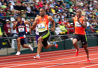 Tyson Gay (C) runs in the semi-finals of the 100m during day 3 of the U.S. Olympic Trials for Track & Field at Hayward Field in Eugene, Oregon, USA 24 Jun 2012..(Jed Jacobsohn/for The New York Times)....