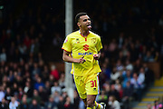 MK Dons forward Josh Murphy celebrates his goal during the Sky Bet Championship match between Fulham and Milton Keynes Dons at Craven Cottage, London, England on 2 April 2016. Photo by Jon Bromley.