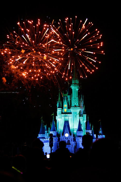 Orlando, Florida, USA, 20090324: The Disney Magic Kingdom in Orlando. Fireworks over the Cinderella Castle. Photo: Orjan F. Ellingvag/ Dagbladet/ Corbis
