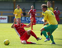 August 28, 2017 - London, United Kingdom - Jake Robinson of Billericay Town gets tackled by Richard Halle of Thurrock FC .during Bostik League Premier Division match between Thurrock vs Billericay Town at  Ship Lane Ground, Aveley on 28 August 2017  (Credit Image: © Kieran Galvin/NurPhoto via ZUMA Press)