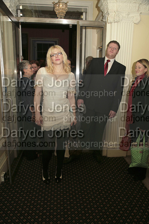 COURTNEY LOVE, Literary Review's Bad Sex In Fiction Prize.  In &amp; Out Club (The Naval &amp; Military Club), 4 St James's Square, London, SW1, 29 November 2006. <br />Ceremony honouring author who writes about sex in a 'redundant, perfunctory, unconvincing and embarrassing way'. ONE TIME USE ONLY - DO NOT ARCHIVE  &copy; Copyright Photograph by Dafydd Jones 248 CLAPHAM PARK RD. LONDON SW90PZ.  Tel 020 7733 0108 www.dafjones.com