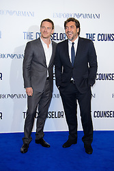 Michael Fassbender and Javier Bardem arriving for a special screening of The Counselor, in  London,  Thursday, 3rd October 2013. Picture by Chris Joseph / i-Images