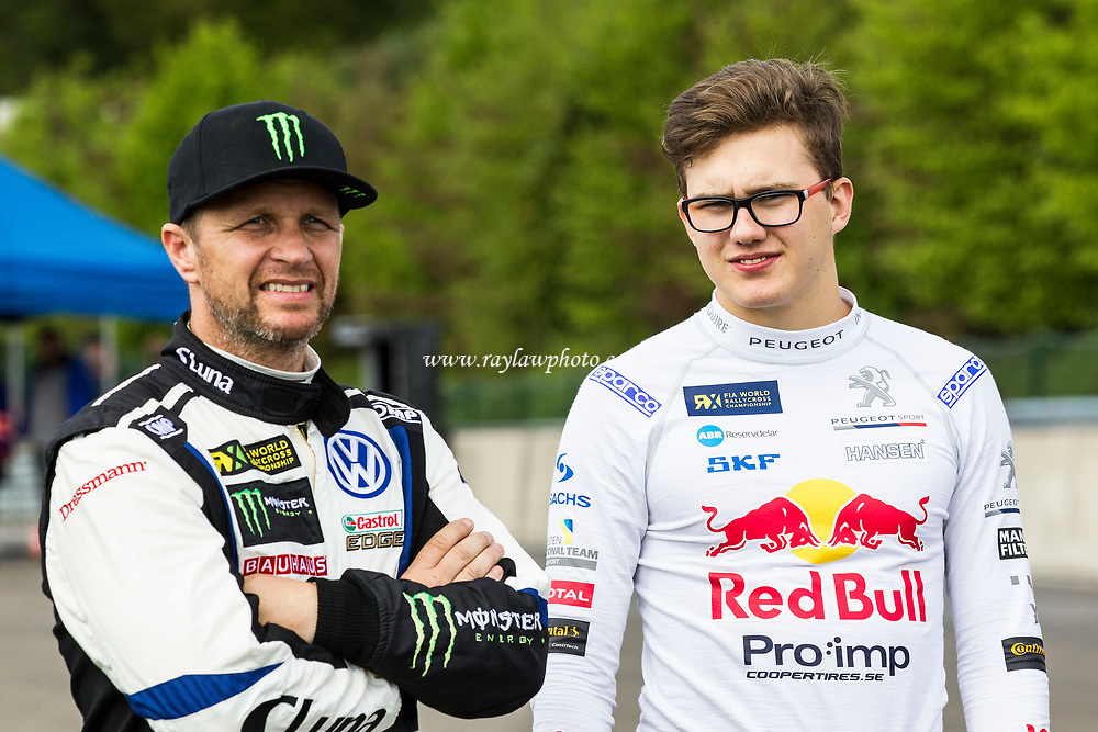 Petter Solberg, PSRX Volkswagen, World Team Sweden (L) and Kevin Hansen, Team Peugeot-Hansen pre qualifying 1 during WRX 2017 Round Four Qualifying at Circuit Jules Tacheny on 13th May 2017