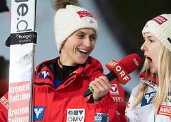 03.02.2019, Energie AG Skisprung Arena, Hinzenbach, AUT, FIS Weltcup Ski Sprung, Damen, Siegerehrung, im Bild v.l. Eva Pinkelnig (AUT), Chiara Hoelzl (AUT) // v.l. Eva Pinkelnig (AUT), Chiara Hoelzl (AUT) during the winner Ceremony of woman's FIS Ski Jumping World Cup at the Energie AG Skisprung Arena in Hinzenbach, Austria on 2019/02/03. EXPA Pictures © 2019, PhotoCredit: EXPA/ Reinhard Eisenbauer