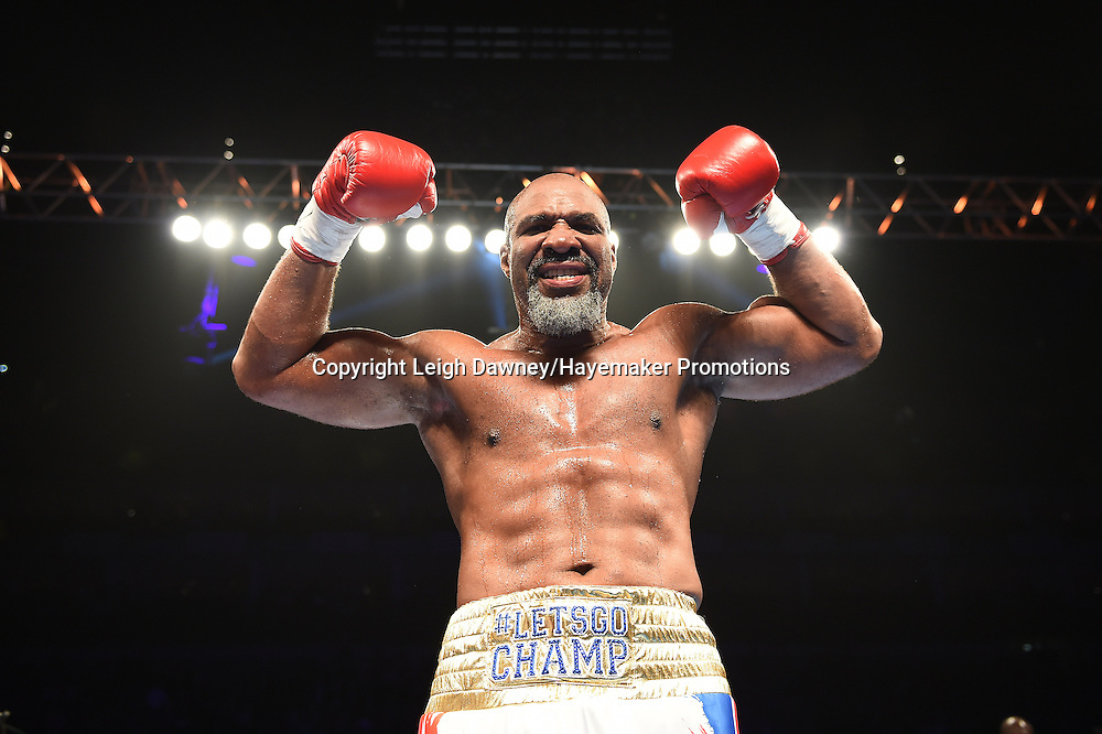 Shannon Briggs defeats Emilio Ezequiel Zarate in a heavyweight contest at the 02 Arena, London on the 21st May 2016. Photo credit: Leigh Dawney/Hayemaker Promotions.