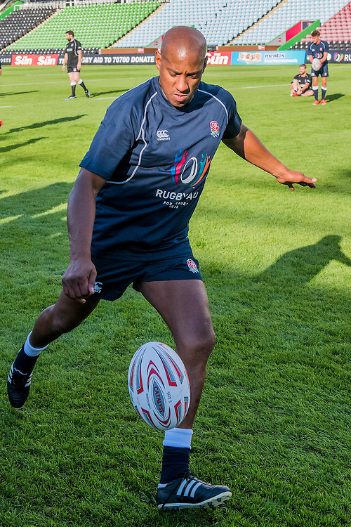 Dion Dublin (Footballer & TV presenter)takes part in the kicking competition   -Training starts for inaugural RUGBY AID 2015 charity match which takes place on Friday 4th September 2015 at the Twickenham Stoop. The celebrity charity game will be in aid of RUGBY FOR HEROES  of which Mike Tindall MBE is Patron. The charity raises funds and awareness through the sport of rugby, the fan community and the wider professional player network, to support military personnel who are making the transition back from military service to civilian life. The teams (England v's Rest of the World) include former international rugby players, celebrities and serving members of the armed forces. Harlequins Rugby , The Stoop, Twickenham, London UK, 02 Sept 2015