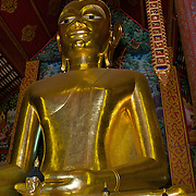 The principle Buddha image at Wat Jet Yot in Chiang Rai, Thailand.
