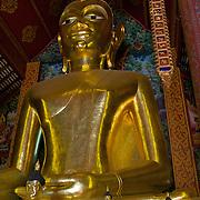 The principle Buddha image at Wat Jet Yot in Chiang Rai, Thailand.