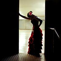 Spanish Flamenco Dancer resting after performance.<br /> Bailaora descansa despu&eacute;s de la actuaci&oacute;n.