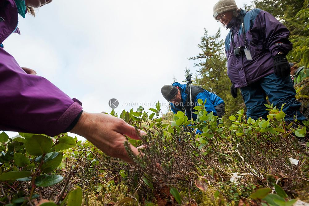 Naturalist Bette Lu Krause interpreting some of the flora found in Klewnuggit Inlet Marine Provincial Park, British Columbia, Canada.